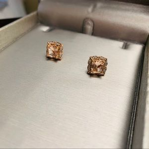 Morganite and diamond with 10K rose gold studs.